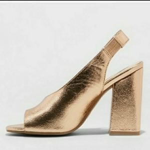 Metallic Gold Peep Toe Slingback Chunky Heels